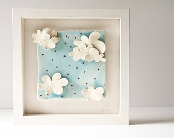 ceramic wall art, whimsical modern wall decor, light blue sky white clouds, christening, baptism, new baby gift, baby nursery christmas gift