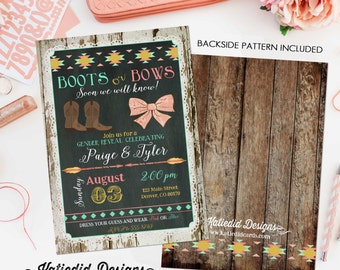 gender reveal invitation boots or bows lace cowboy burlap bunting chalkboard tribal wood arrow baby shower item 1439 shabby chic invitations