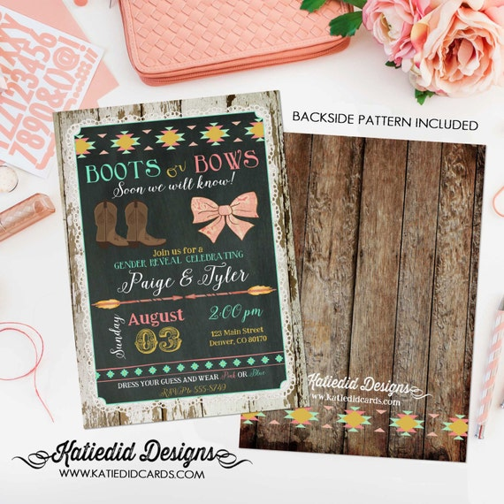 he or she gender reveal invitation | boots or bows surprise gender reveal | twins shower | boho baby shower tribal | 1439 Katiedid Designs