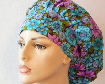 Scrub Hats Packed Floral in Purple and Turquoise Surgical Bouffant Scrub Hat with a Matching Headband Floral Made in USA