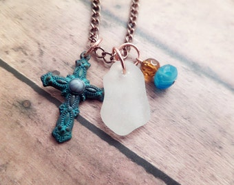 Cross Necklace with White Scottish Sea Glass and Verdigris Charm, Beach Jewelry, Copper Chain
