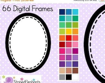 50% OFF SALE Stitched Oval Digital Frames - Clip Art Frames - Instant Download - Commercial Use
