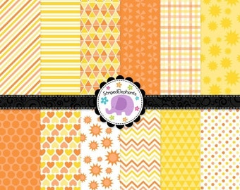 40% OFF SALE Sunshine Digital Paper Pack, Yellow Orange Digital Scrapbook Paper, Sunshine Digital Background, Commercial Use