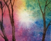 ACEO Original watercolor painting - Rainbow forest