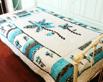 3-D Flower Quilt Twin Size in Brown, Turquoise, and White. 3D Applique Flowers With Fabric Covered Button Centers.