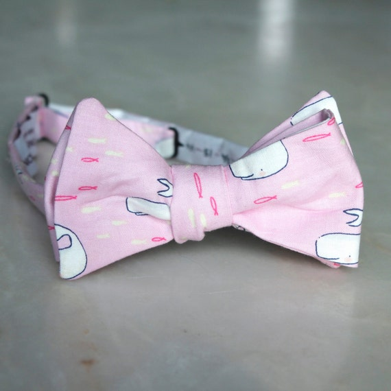 Pink Narwhal Bow Tie- Groomsmen and wedding tie - clip on, pre-tied with strap or self tying