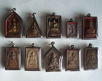 10 Thai Buddhist Buddha Clay Amulet Medallions Pendants