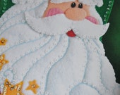 "Felt Works By Dimensions Santa Christmas Stocking Kit Felt applique Kit. Approx 18"" Long  Stars and Button"