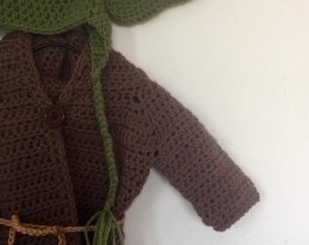 Yoda costume crochet set. Newborn dress up props Halloween