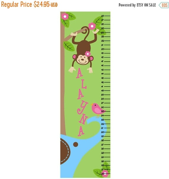 SALE Growth Chart Children Canvas Growth Chart Monkey Tree