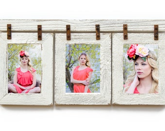 Barnwood Collage Frame. 3) 4x6 Multi Opening Frame. Rustic Picture Frame. Collage Frame. Ivory Picture Frame. Shabby Chic Wedding Frame