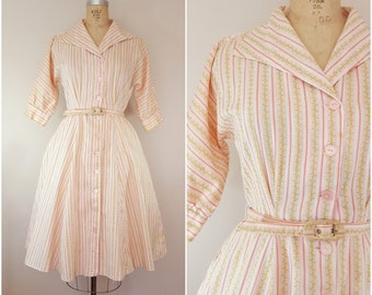 Vintage 1950s Shirtwaist / 50s Dress / Spring Floral / Floral Stripe / Small Medium