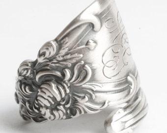 Chrysanthemum Ring, Chrysanthemum Flower, Sterling Silver Spoon Ring, Reed & Barton, Flower Lover Gift for Her, Adjustable Ring Size (6054)