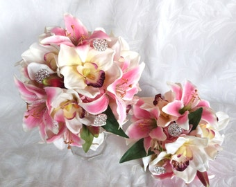 4 piece set Pink lily pink hydrangea with creme white orchid bridal bouquet and boutonniere set