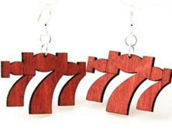 Lucky Sevens - Wood Earrings