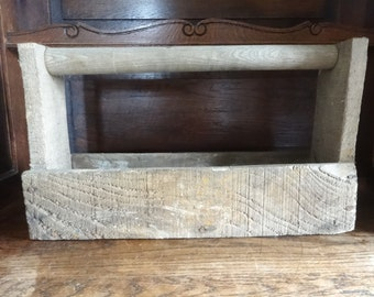 Vintage French Handled Rustic Wood Wooden Tool Box Carrier circa 1950-60's / English Shop