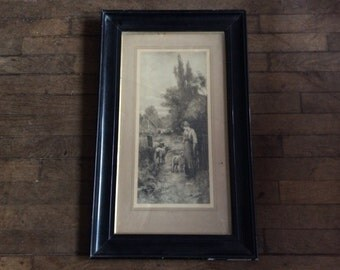 Vintage British Large The Home Farm Print in Black Wooden Frame sheep farmers wife circa 1960-70's / English Shop