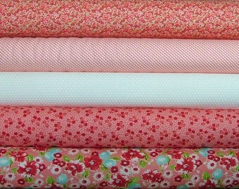 Little Ruby Bundle Fat Quarter Bundle of 5 in Pink by Bonnie & Camille for Moda