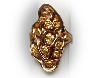 Lady's Free Form Alluvial Gold Nugget Cluster Ring in 14k Gold