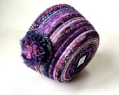 Clothesline Basket , Coiled Rope Organizer , Grape Purple Batik with Green and Blue, Handmade Homemade Fiber Art