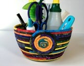Coiled Rope Sewing Room Organizer , Extra Large Clothesline Basket , Jewel Tone Hand Dyed Fiber , Handmade Homemade Fiber Art, Sally Manke