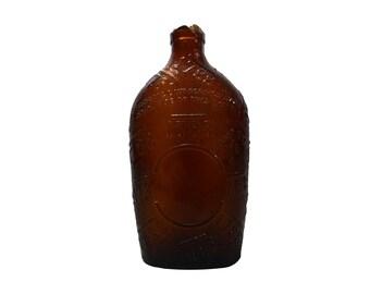1788 Embossed Brown Whiskey Flask Bottle - As-IS