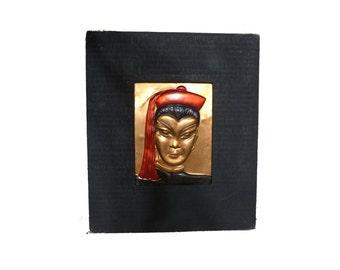 Mid Century Oriental Wanda Irwin Hand Tooled Copper Silhouette