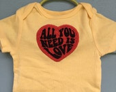 All You Need Is LOVE ~ embroidered heart Onesie yellow, 6-9 months, The Beatles, John Lennon OOAK