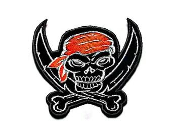 Biker skull iron on patch