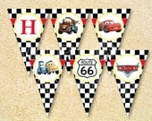 Cars Happy Birthday Banner, Cars Pennant banner, Instant Download, Cars birthday invitation, Cars birthday party printables, Baby Shower