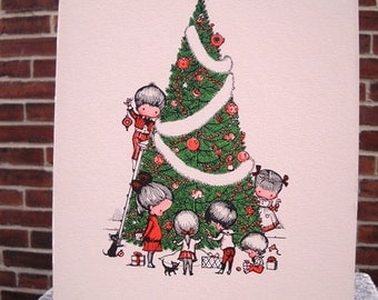Joan Walsh Anglund Vintage Drawing Christmas Tree