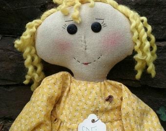 Primitive Doll, Little Sunshine, Handmade, Prim, Recycled Tag,  OOAK , Shelf Sitter, Sweet, Adorable, OFG