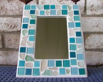 Mirror in Genuine Sea Glass and Mosaic Tile