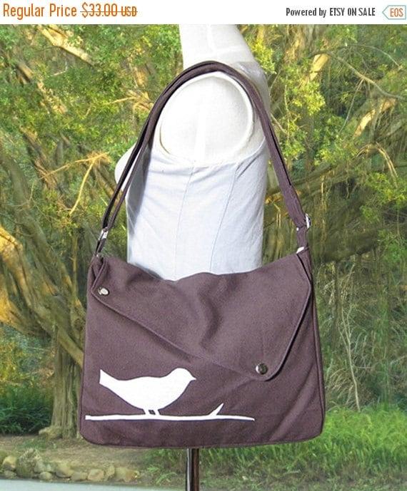 Holiday On Sale 10% off Brown cotton canvas bird messenger / shoulder bag / messenger bag / diaper bag / cross body bag