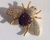 Dark violet princess cut butterfly brooch with rhinestones    VJSE