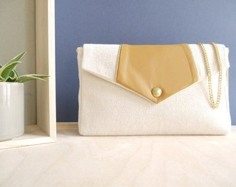 Sales 20% off - Bernadette Handbag with a mustard leather flap with lurex and a golden chain