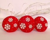 Snowflakes and Christmas - Set of 3 felt Christmas tree ornaments - red and snowflakes - Holiday red decoration - Christmas decor