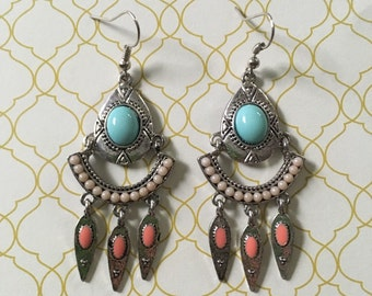 Gorgeous turquoise and coral earrings