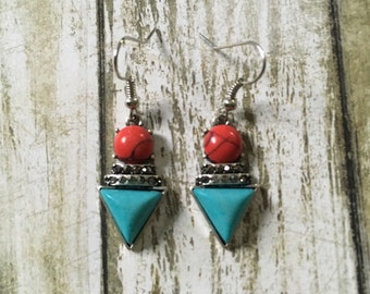 Red and blue geometric earrings