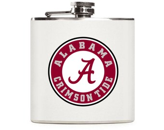 Alabama Flask, Crimson Tide Football Flask, White Leather Flask, Personalized Stainless Steel 6oz Hip Flask