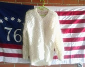 Vintage Mohair Sweater Dreamy Sheer Ivory Handmade in Scotland Boho Knit