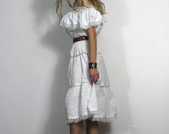 60s 70s Vintage Mexican Dress Off the Shoulder White Lace Ruffle Bohemian Dress