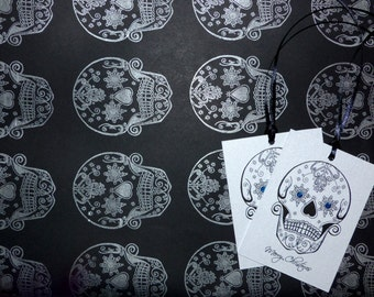 Snowflake Day of the Dead sugar skull tattoo hand stamped Christmas wrapping with 2 matching gift tags