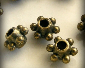 24pcs Antique Brass 6 Dot Spacer Beads 6mm Z-N1103-AB