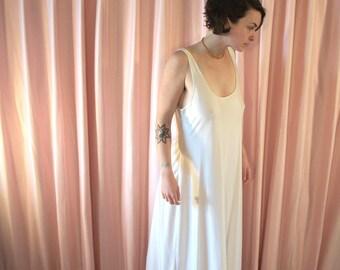 Minimal White Satin Nightgown / Slip