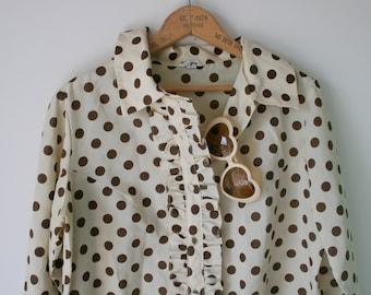 1970s TWIGGY MOD Dress..cream. medium. retro. mod dress. polka dots. 1960s dress. dots. mod. costume. disco. gogo. mid century. long sleeved