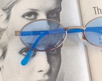 1980s BLUE SPECTACLES Sunglasses..specs. librarian. groovy. twiggy. mod. retro glasses. prep. secretary. urban. hipster. ozzy. lennon