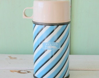 1963 Vintage RETRO THERMOS..striped. blue. decor. retro. kitschy. campy. serving. eating. lunch. dinner. vintage housewares. kitchen. bright