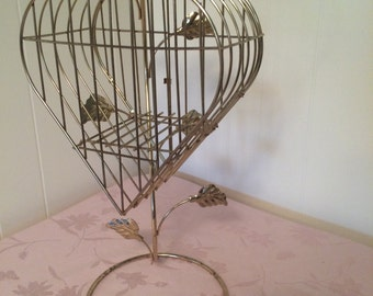 WEEK SALE Antiqued Golden Bird Cage. Jewelry Stand. Decoration for your elegance~ elegant cage comes with self standing wire hanger