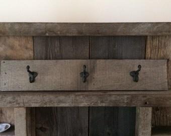 Rustic Wood Coat Rack, Entryway Coat Hooks, Antique Hooks, Distressed Wood Coat Rack, Reclaimed Wood, Mudroom Hooks